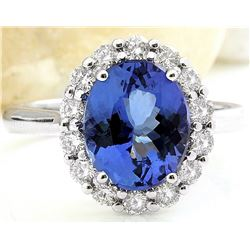 4.80 CTW Natural Tanzanite 18K Solid White Gold Diamond Ring