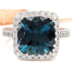 7.91 CTW Natural Topaz 18K Solid White Gold Diamond Ring