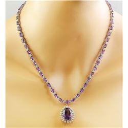 37.52 CTW Amethyst 18K White Gold Diamond Necklace