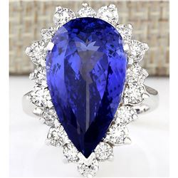 14.83 CTW Natural Blue Tanzanite And Diamond Ring 14K Solid White Gold