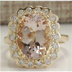 5.07 CTW Natural Morganite And Diamond Ring 14K Solid Yellow Gold