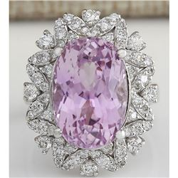 12.00 CTW Natural Kunzite And Diamond Ring In 14k White Gold