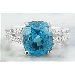 10.51 CTW Zircon 14K White Gold Diamond Ring