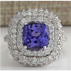6.88 CTW Natural Tanzanite Diamond Ring 18K Solid White Gold