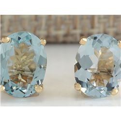 3.00 CTW Natural Blue Aquamarine Earrings In 18K Yellow Gold