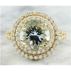 4.39 CTW Aquamarine 14K Yellow Gold Diamond Ring