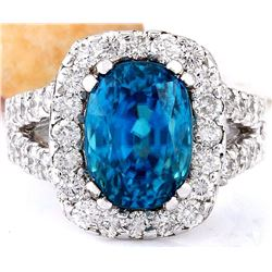 9.37 CTW Natural Zircon 14K Solid White Gold Diamond Ring