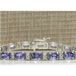11.01 CTW Natural Tanzanite And Dimond Bracelet In 18K Solid White Gold