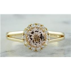 1.24 CTW Morganite 18K Yellow Gold Diamond Ring