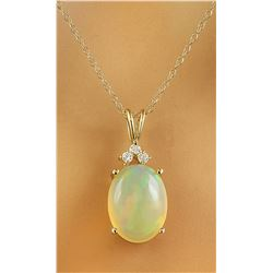 3.86 CTW Opal 18K Yellow Gold Diamond Necklace