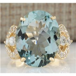 10.52 CTW Natural Aquamarine And Diamond Ring In 18K Yellow Gold
