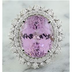 18.58 CTW Kunzite 14K White Gold Diamond Ring