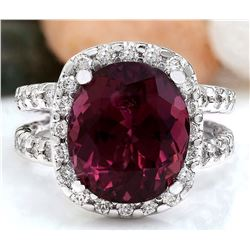 10.16 CTW Natural Tourmaline 18K Solid White Gold Diamond Ring
