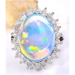 9.53 CTW Natural Opal 14K Solid White Gold Diamond Ring