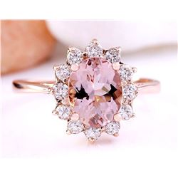 2.05 CTW Natural Morganite 14K Solid Rose Gold Diamond Ring