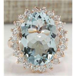 8.40 CTW Natural Aquamarine And Diamond Ring In 18K Solid Rose Gold