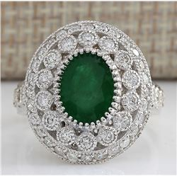 3.09 CTW Natural Emerald And Diamond Ring In 18K White Gold