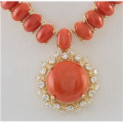 63.65 CTW Natural Red Coral And Diamond Necklace In 14K Yellow Gold