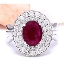 2.60 CTW Natural Ruby 18K Solid White Gold Diamond Ring