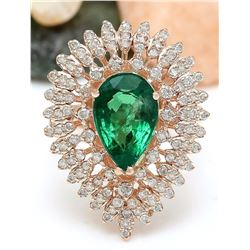 4.68 CTW Natural Emerald 18K Solid Rose Gold Diamond Ring