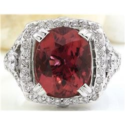 6.10 CTW Natural Tourmaline 14K Solid White Gold Diamond Ring