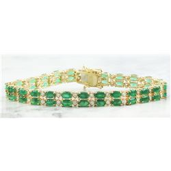 11.78  CTW Emerald 14K Yellow Gold Diamond Bracelet