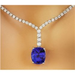 9.25 CTW Tanzanite 18K White Gold Diamond Necklace