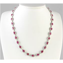 28.20 CTW Natural Ruby And Diamond Necklace In 14k White Gold