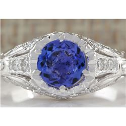1.05 CTW Natural Tanzanite And Diamond Ring 18K Solid White Gold