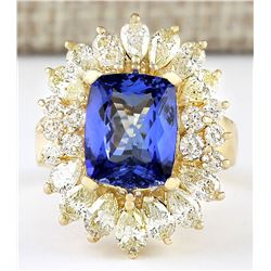 6.33 CTW Natural Blue Tanzanite And Diamond Ring 18K Solid Yellow Gold
