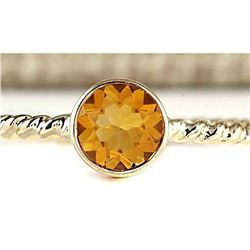 1.00 CTW Natural Citrine Ring In 14k Yellow Gold