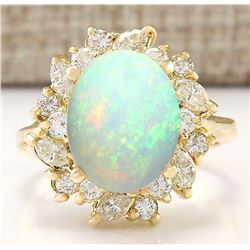 4.95 CTW Natural Opal And Diamond Ring In 14k Yellow Gold