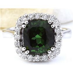 4.21 CTW Natural Tourmaline 18K Solid White Gold Diamond Ring