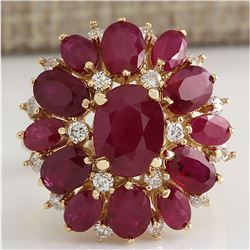 7.47 CTW Natural Red Ruby And Diamond Ring 14K Solid Yellow Gold