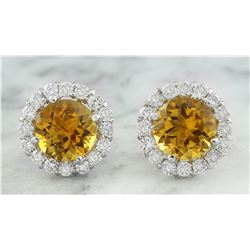 3.65 CTW Citrine 18K White Gold Diamond Earrings