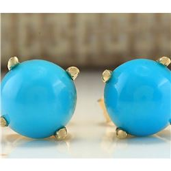 2.00 CTW Natural Blue Turquoise Earrings 18K Solid Yellow Gold