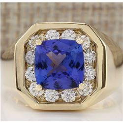 MENS 4.04 CTW Natural Blue Tanzanite And Diamond Ring 18K Solid Yellow Gold