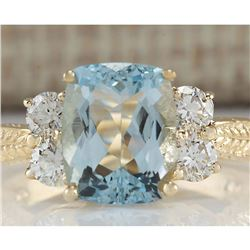 3.67 CTW Natural Aquamarine And Diamond Ring In 18K Yellow Gold