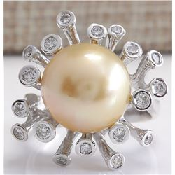 0.80 CTW Natural 13.17mm Gold South Sea Pearl Diamond Ring 14K White Gold