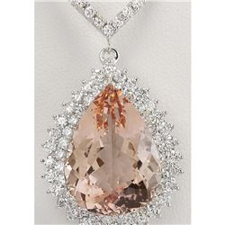 25.92 CTW Natural Morganite And Diamond Necklace In 14K White Gold