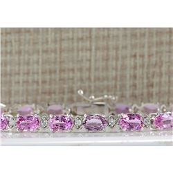 14.10CTW Natural Pink Sapphire And Diamond Bracelet In 14K Solid White Gold