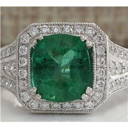 4.30 CTW Natural Colombian Emerald And Diamond Ring 18K Solid White Gold