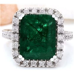 6.65 CTW Natural Emerald 14K Solid White Gold Diamond Ring