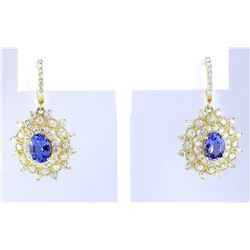 7.20 CTW Natural Tanzanite And Diamond Earrings 18K Yellow Gold