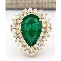 5.84 CTW Natural Emerald And Diamond Ring In 14k Yellow Gold