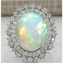 8.70 CTW Natural Opal And Diamond Ring In14K White Gold