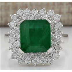 5.42 CTW Natural Emerald And Diamond Ring In 18K White Gold