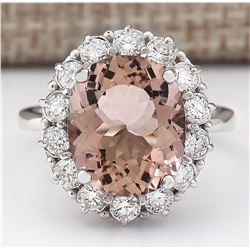 7.04 CTW Natural Morganite And Diamond Ring In 14k White Gold