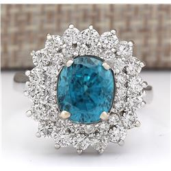 6.24 CTW Natural Blue Zircon And Diamond Ring 18K Solid White Gold