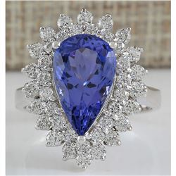 5.73 CTW Natural Blue Tanzanite And Diamond Ring In 18K White Gold